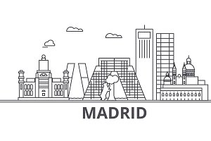Madrid architecture line skyline illustration. Linear vector cityscape with famous landmarks, city sights, design icons. Landscape wtih editable strokes