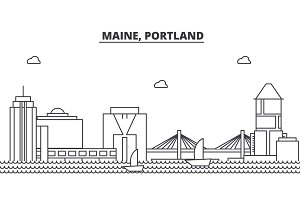 Maine, Portland architecture line skyline illustration. Linear vector cityscape with famous landmarks, city sights, design icons. Landscape wtih editable strokes