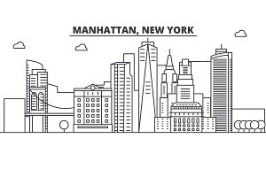 Manhattan, New York architecture line skyline illustration. Linear vector cityscape with famous landmarks, city sights, design icons. Landscape wtih editable strokes