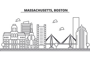 Massachusetts, Boston architecture line skyline illustration. Linear vector cityscape with famous landmarks, city sights, design icons. Landscape wtih editable strokes