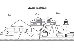 Maui, Hawaii architecture line skyline illustration. Linear vector cityscape with famous landmarks, city sights, design icons. Landscape wtih editable strokes
