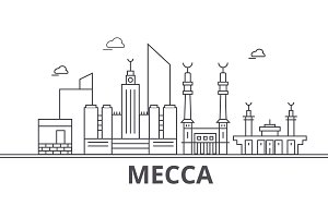 Mecca architecture line skyline illustration. Linear vector cityscape with famous landmarks, city sights, design icons. Landscape wtih editable strokes