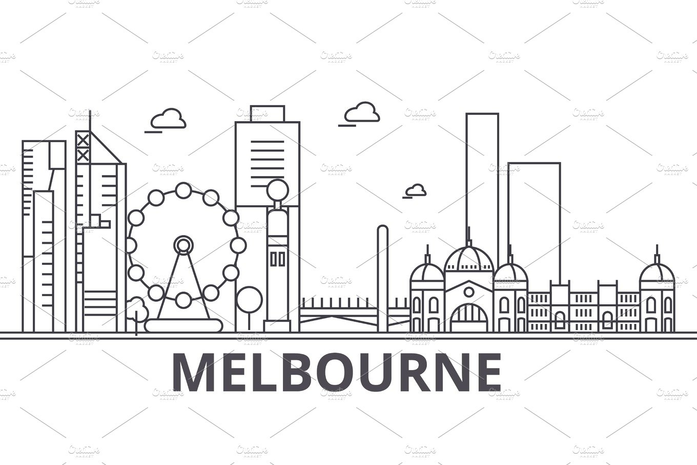 Melbourne Architecture Line Skyline Illustration Linear