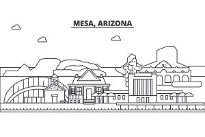 Mesa, Arizona architecture line skyline illustration. Linear vector cityscape with famous landmarks, city sights, design icons. Landscape wtih editable strokes