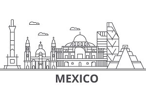Mexico architecture line skyline illustration. Linear vector cityscape with famous landmarks, city sights, design icons. Landscape wtih editable strokes
