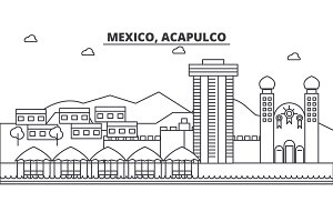 Mexico, Acapulco architecture line skyline illustration. Linear vector cityscape with famous landmarks, city sights, design icons. Landscape wtih editable strokes