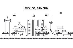 Mexico, Cancun architecture line skyline illustration. Linear vector cityscape with famous landmarks, city sights, design icons. Landscape wtih editable strokes
