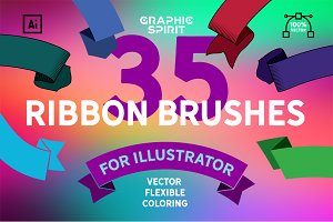 Vector Ribbon Brushes Illustrator