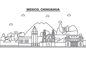 Mexico, Chihuahua architecture line skyline illustration. Linear vector cityscape with famous landmarks, city sights, design icons. Landscape wtih editable strokes