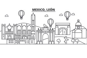 Mexico, Leon architecture line skyline illustration. Linear vector cityscape with famous landmarks, city sights, design icons. Editable strokes
