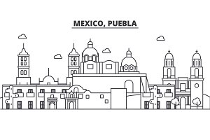 Mexico, Puebla architecture line skyline illustration. Linear vector cityscape with famous landmarks, city sights, design icons. Landscape wtih editable strokes