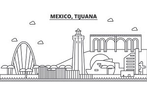 Mexico, Tijuana architecture line skyline illustration. Linear vector cityscape with famous landmarks, city sights, design icons. Landscape wtih editable strokes
