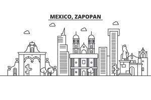 Mexico, Zapopan architecture line skyline illustration. Linear vector cityscape with famous landmarks, city sights, design icons. Landscape wtih editable strokes