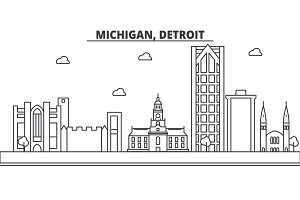 Michigan, Detroit architecture line skyline illustration. Linear vector cityscape with famous landmarks, city sights, design icons. Landscape wtih editable strokes
