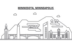Minnesota, Minneapolis architecture line skyline illustration. Linear vector cityscape with famous landmarks, city sights, design icons. Landscape wtih editable strokes