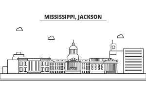 Mississippi, Jackson architecture line skyline illustration. Linear vector cityscape with famous landmarks, city sights, design icons. Landscape wtih editable strokes