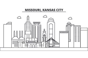 Missouri, Kansas City architecture line skyline illustration. Linear vector cityscape with famous landmarks, city sights, design icons. Landscape wtih editable strokes