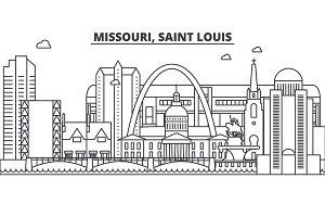 Missouri, Saint Louis architecture line skyline illustration. Linear vector cityscape with famous landmarks, city sights, design icons. Landscape wtih editable strokes