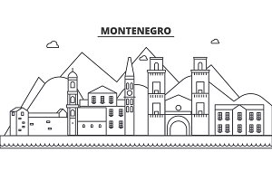 Montenegro architecture line skyline illustration. Linear vector cityscape with famous landmarks, city sights, design icons. Landscape wtih editable strokes
