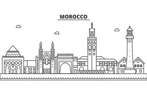 Morocco architecture line skyline illustration. Linear vector cityscape with famous landmarks, city sights, design icons. Landscape wtih editable strokes