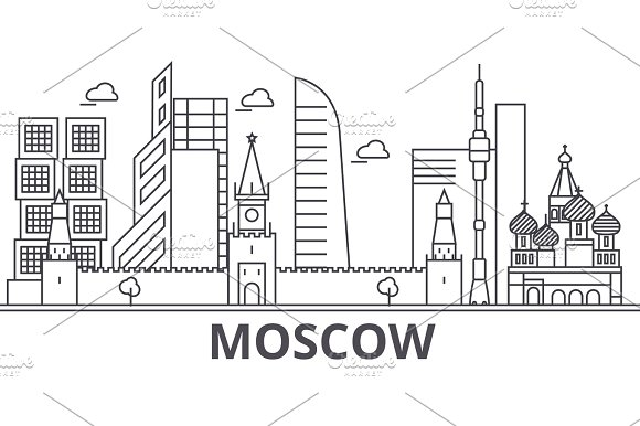 Moscow architecture line skyline illustration. Linear vector cityscape with famous landmarks, city sights, design icons. Landscape wtih editable strokes