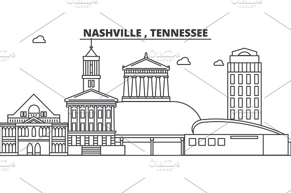 Nashville , Tennessee architecture line skyline illustration. Linear vector cityscape with famous landmarks, city sights, design icons. Landscape wtih editable strokes