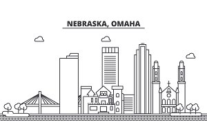 Nebraska, Omaha architecture line skyline illustration. Linear vector cityscape with famous landmarks, city sights, design icons. Landscape wtih editable strokes