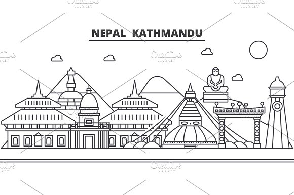 Nepal, Kathmandu architecture line skyline illustration. Linear vector cityscape with famous landmarks, city sights, design icons. Landscape wtih editable strokes