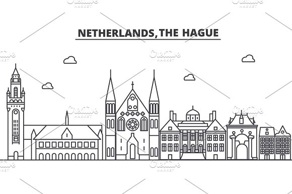 Netherlands, Hague architecture line skyline illustration. Linear vector cityscape with famous landmarks, city sights, design icons. Landscape wtih editable strokes