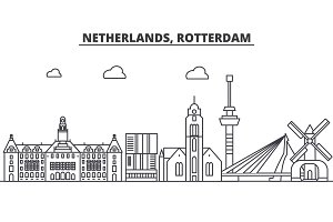 Netherlands, Rotterdam architecture line skyline illustration. Linear vector cityscape with famous landmarks, city sights, design icons. Landscape wtih editable strokes