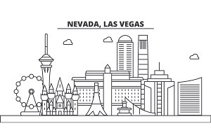 Nevada, Las Vegas architecture line skyline illustration. Linear vector cityscape with famous landmarks, city sights, design icons. Landscape wtih editable strokes