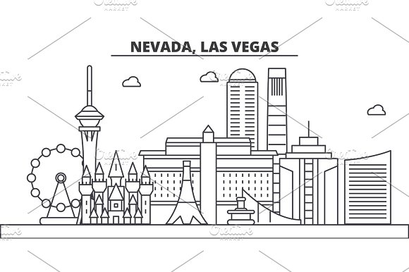 Nevada, Las Vegas architecture line skyline illustration. Linear vector cityscape with famous landmarks, city sights, design icons. Landscape wtih editable strokes in Illustrations