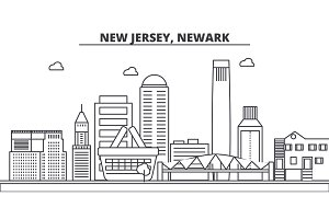 New Jersey, Newark architecture line skyline illustration. Linear vector cityscape with famous landmarks, city sights, design icons. Landscape wtih editable strokes