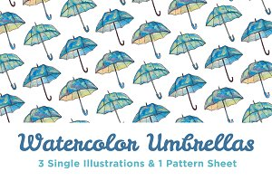 3 Watercolor Umbrellas