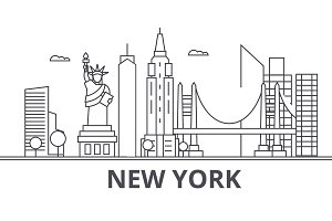 New York architecture line skyline illustration. Linear vector cityscape with famous landmarks, city sights, design icons. Landscape wtih editable strokes
