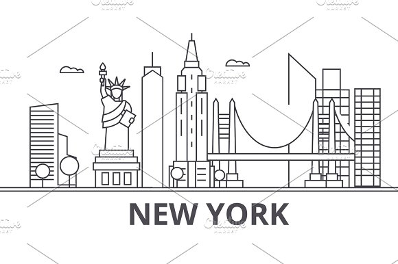 New York Architecture Line Skyline Illustration Linear Vector Cityscape With Famous Landmarks City Sights