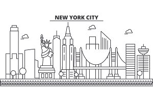 New York, New York City architecture line skyline illustration. Linear vector cityscape with famous landmarks, city sights, design icons. Landscape wtih editable strokes