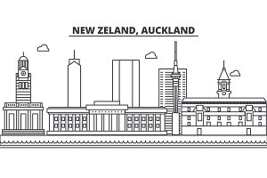 New Zeland, Auckland architecture line skyline illustration. Linear vector cityscape with famous landmarks, city sights, design icons. Landscape wtih editable strokes