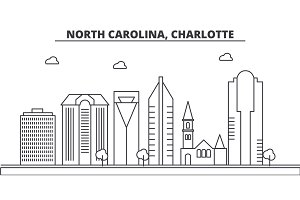 North Carolina, Charlotte architecture line skyline illustration. Linear vector cityscape with famous landmarks, city sights, design icons. Landscape wtih editable strokes