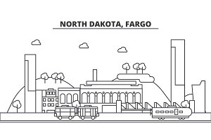 North Dakota, Fargo architecture line skyline illustration. Linear vector cityscape with famous landmarks, city sights, design icons. Landscape wtih editable strokes