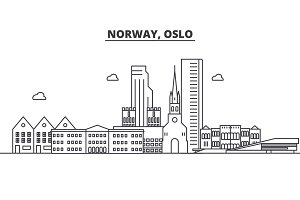 Norway, Oslo architecture line skyline illustration. Linear vector cityscape with famous landmarks, city sights, design icons. Landscape wtih editable strokes