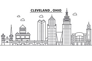 Ohio Cleveland architecture line skyline illustration. Linear vector cityscape with famous landmarks, city sights, design icons. Landscape wtih editable strokes
