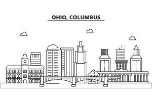 Ohio, Columbus architecture line skyline illustration. Linear vector cityscape with famous landmarks, city sights, design icons. Landscape wtih editable strokes