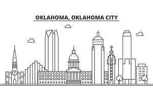 Oklahoma, Oklahoma City architecture line skyline illustration. Linear vector cityscape with famous landmarks, city sights, design icons. Landscape wtih editable strokes