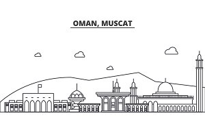 Oman, Muscat architecture line skyline illustration. Linear vector cityscape with famous landmarks, city sights, design icons. Landscape wtih editable strokes