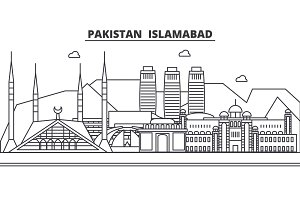 Pakistan, Islamabad architecture line skyline illustration. Linear vector cityscape with famous landmarks, city sights, design icons. Landscape wtih editable strokes