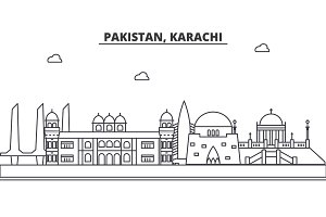 Pakistan, Karachi architecture line skyline illustration. Linear vector cityscape with famous landmarks, city sights, design icons. Landscape wtih editable strokes