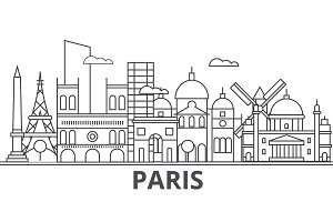 Paris architecture line skyline illustration. Linear vector cityscape with famous landmarks, city sights, design icons. Landscape wtih editable strokes