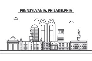 Pennsylvania, Philadelphia architecture line skyline illustration. Linear vector cityscape with famous landmarks, city sights, design icons. Landscape wtih editable strokes