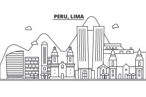Peru, Lima architecture line skyline illustration. Linear vector cityscape with famous landmarks, city sights, design icons. Landscape wtih editable strokes